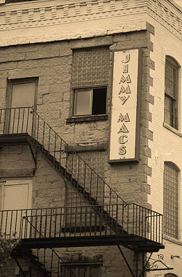 Art Print featuring the photograph Rochester, New York - Jimmy Mac's Bar 2 Sepia by Frank Romeo