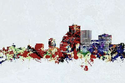 Digital Art - Rochester New York Skyline by Joann Long