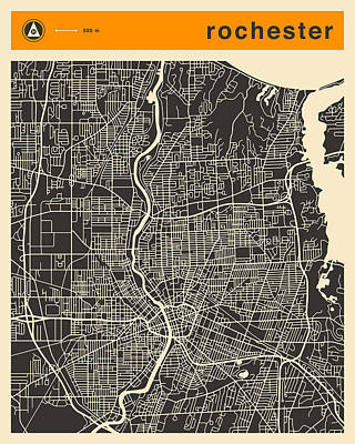 Rochester Digital Art - Rochester Ny Map by Jazzberry Blue