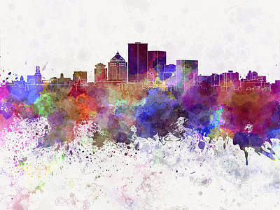 Rochester Ny Skyline In Watercolor Background Print by Pablo Romero