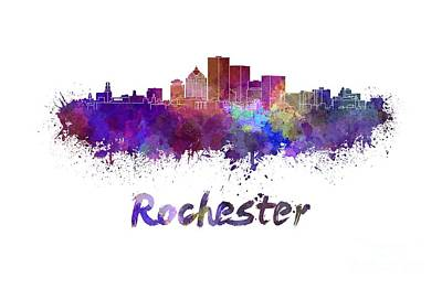 Rochester Skyline In Watercolor Art Print by Pablo Romero