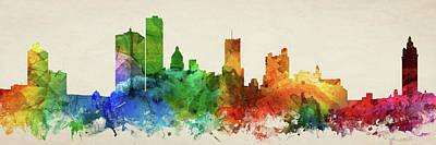 Rochester New York Digital Art - Rochester Skyline Panorama Usnyro-pa03 by Aged Pixel