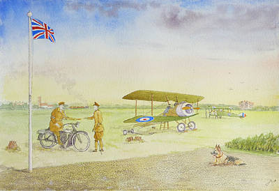 Bi-plane Painting - Rochford Aerodrome 1918 by David Godbolt