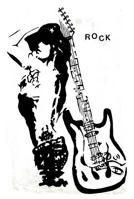 Abstract Pop Drawing - Rock 2 by Tom Fedro - Fidostudio