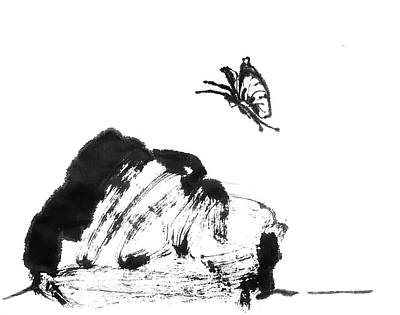 Drawing - Rock And Butterfly by Hae Kim