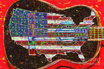 Music Digital Art - Rock And Roll America 20130123 Red by Wingsdomain Art and Photography