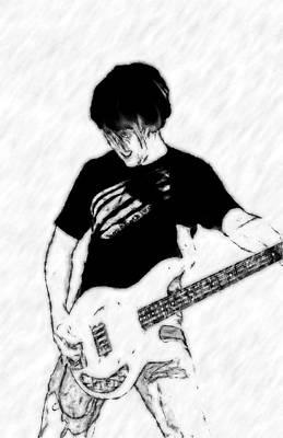 Guitar Player Digital Art - Rock And Roll Bass Guitar Player by Randy Steele