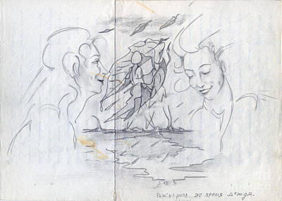 Rock And Roll Drawings - Rock-and-roll during the rain. 1999 by Tatiana Chernyavskaya