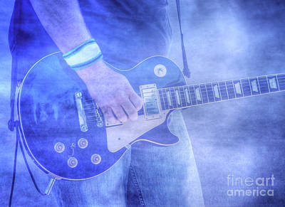 Digital Art - Rock And Roll Guitar Blue Haze by Randy Steele