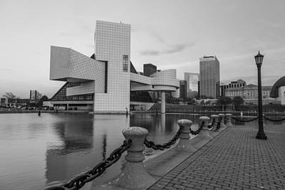 Photograph - Rock And Roll Hall Of Fame On The Water Black And White  by John McGraw
