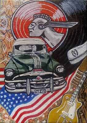 Gold Star Banner Painting - Rock And Roll by Michael Smith