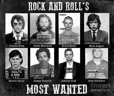 Rock And Rolls Most Wanted Art Print by Jon Neidert
