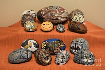 Squirrel Mixed Media - Rock Animals by Sharon Patterson