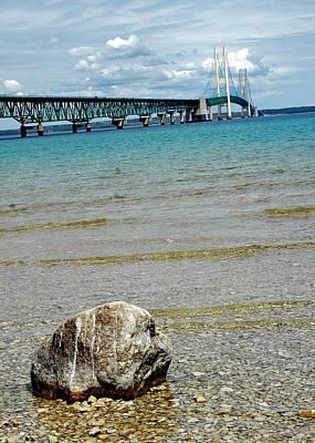 Seagull Photograph - Rock At Mackinac Bridge by LeeAnn McLaneGoetz McLaneGoetzStudioLLCcom