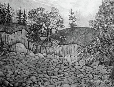 Art Print featuring the drawing Rock Beach by John Stuart Webbstock