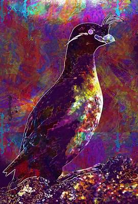 Auklets Digital Art - Rock Bird Auklet Crested Birds  by PixBreak Art