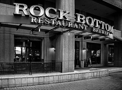 Rock Photograph - Rock Bottom Restaurant And Brewery In Black And White by Greg Mimbs