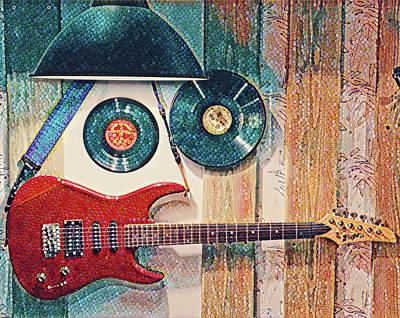 Digital Art - Rock Cafe Guitar by Yury Malkov