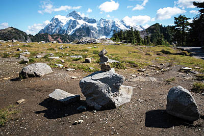 Photograph - Rock Cairn And Mt Shuksan by Tom Cochran