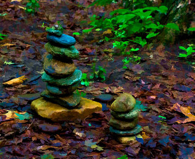 Photograph - Rock Cairns At Amethyst Brook by Richard Goldman