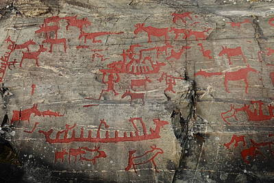 Hunters And Gatherers Photograph - Rock Carving In Sweden With Rowing Ships And Moose by Ulrich Kunst And Bettina Scheidulin