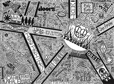 Led Zeppelin Drawing - Rock City by Mark Richardson