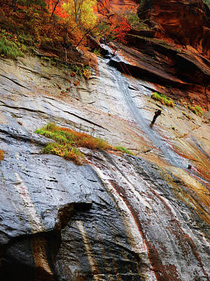 Photograph - Rock Climber, The Narrows, Zion Np by Alan Socolik