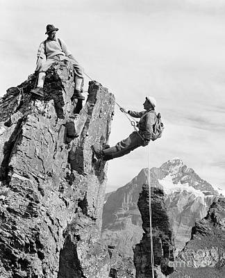 Photograph - Rock Climbers, Switzerland, C.1950-60s by Luthy/ClassicStock