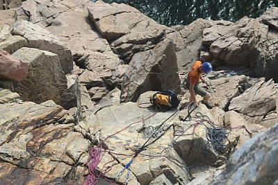 Photograph - Rock Climbing At Acadia by Living Color Photography Lorraine Lynch