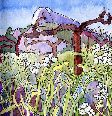 Textured Landscapes Drawing - Rock Climbing At Dentelles In Provence  by Elizabetha Fox