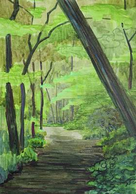 Woodscape Painting - Rock Creek Path by Bethany Lee