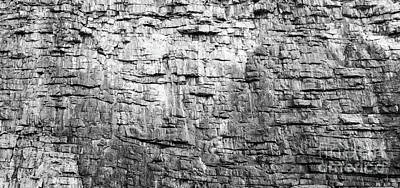 Photograph - Rock Face Texture Black And White by Tim Hester