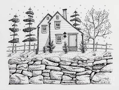 Pen And Ink Drawing Drawing - Rock Fence by Karla Gerard