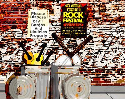 Concert Ukulele Digital Art - Rock Fest No Banjos Or Ukuleles Allowed by Larry E Lamb