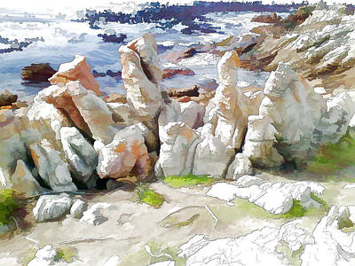 Digital Art - Rock Formation Bettys Bay by Jan Hattingh