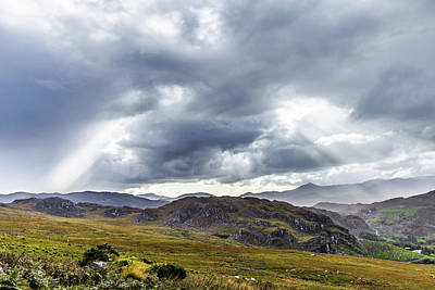 Photograph - Rock Formation Landscape With Clouds And Sun Rays In Ireland by Semmick Photo
