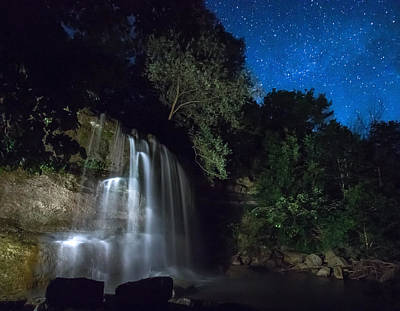 Sigma Photograph - Rock Glen Falls At Night by Cale Best