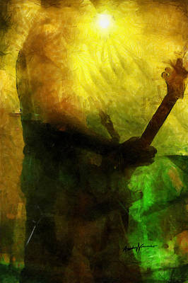 Live In Concert Painting - Rock Guitarist by Anthony Caruso