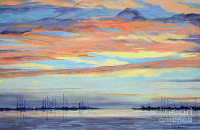 Rock Hall Sunset Art Print by Cindy Roesinger