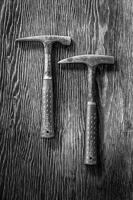 Photograph - Rock Hammers On Plywood In Bw 65 by YoPedro