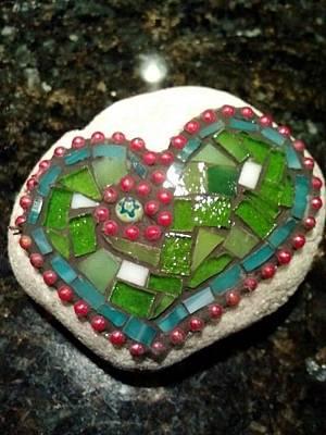 Glass Art - Rock Heart Green by Liz Lowder