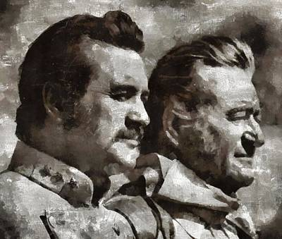 John Wayne Painting - Rock Hudson And John Wayne Hollywood Legends by Mary Bassett
