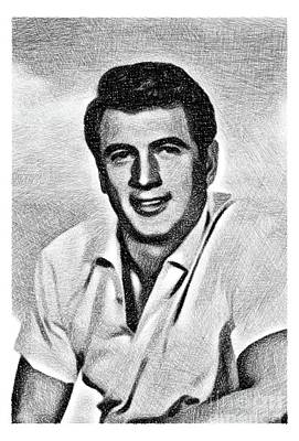 Musicians Drawings Rights Managed Images - Rock Hudson, Vintage Actor by JS Royalty-Free Image by Esoterica Art Agency