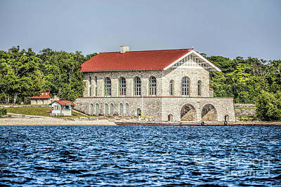 Nikki Vig Royalty-Free and Rights-Managed Images - Rock Island Boathouse From Water by Nikki Vig