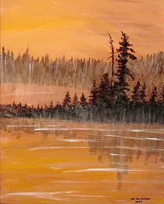 Painting Royalty Free Images - Rock Lake Morning 3 Royalty-Free Image by Ian  MacDonald