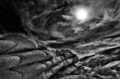 Rock Ledge With Swirling Sky Art Print by Gary Zuercher
