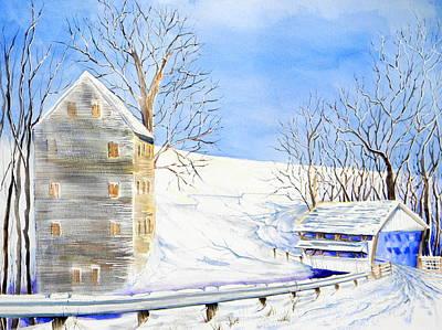 Rock Mill In Winter Art Print