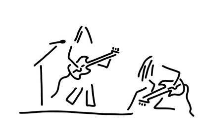 Musicians Drawings - Rock Musician Guitar Headbanger by Lineamentum