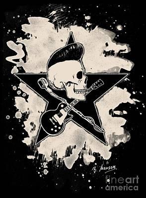 Rock-n-roll Skull - Bleached Art Print