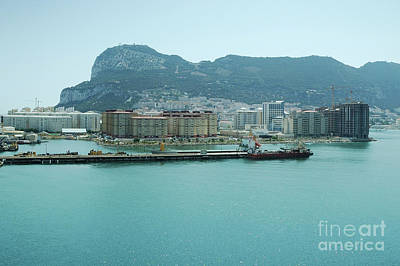 Skylines Photograph - Rock Of Gibraltar On A Sunny Day Seen From Sea by Dani Prints and Images